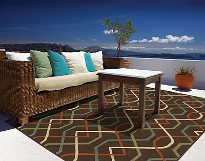Geometric Brown/ Ivory Indoor/Outdoor Machine-made Polypropylene Area Rug (7'10