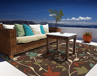 StyleHaven Floral Brown/ Green Indoor/Outdoor Machine-made Polypropylene Area Rug (7'10