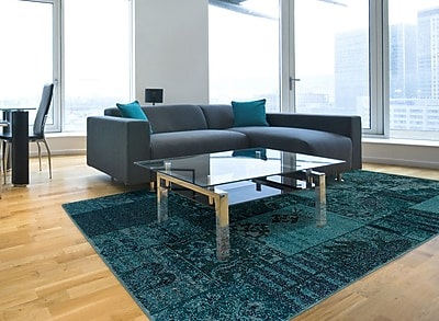 Overdyed Oriental Teal/ Grey Indoor Machine-made Polypropylene Area Rug (6'7