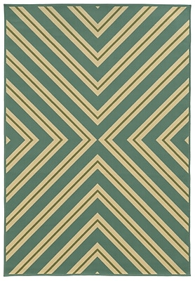 StyleHaven - Geometric Blue/ Ivory Indoor/Outdoor Machine - made Polypropylene Area Rug (3'7