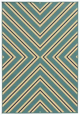 StyleHaven - Geometric blue / Ivory Indoor/Outdoor Machine - made Polypropylene Area Rug (3'7