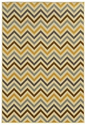StyleHaven Chevron Grey/ Gold Indoor/Outdoor Machine-made Polypropylene Area Rug (7'10