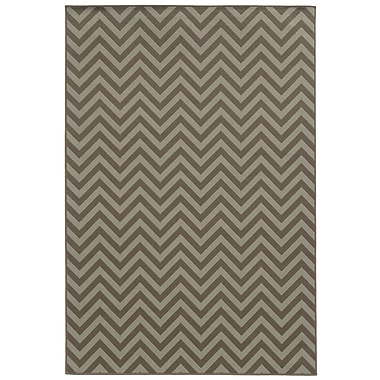StyleHaven Chevron Grey/ Blue Indoor/Outdoor Machine-made Polypropylene Area Rug (3'7