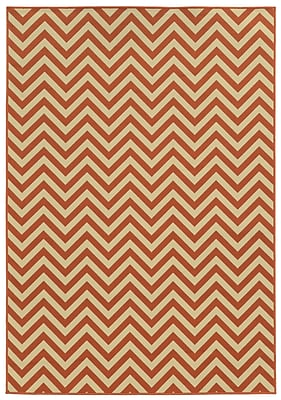 "Chevron Orange/ Ivory Indoor/Outdoor Machine-made Polypropylene Area Rug (5'3"" X 7'6"")"