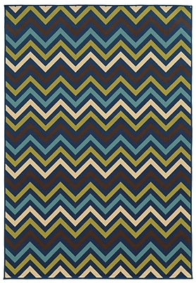 Chevron Blue/ Green Indoor/Outdoor Machine-made Polypropylene Area Rug (6'7