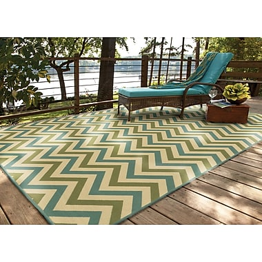 StyleHaven Chevron Green/ Blue Indoor/Outdoor Machine-made Polypropylene Area Rug (6'7