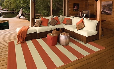 StyleHaven Striped Geometric Orange/ Ivory Indoor/Outdoor Machine-made Polypropylene Area Rug (5'3