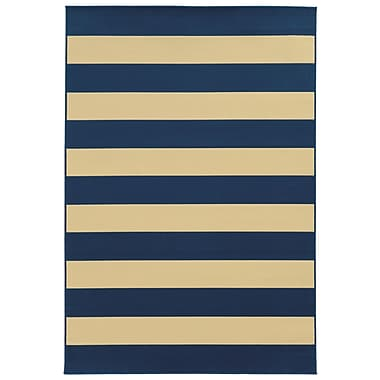 StyleHaven-Striped Geometric Blue/ Ivory Indoor/Outdoor Machine-made Polypropylene Area Rug (5'3