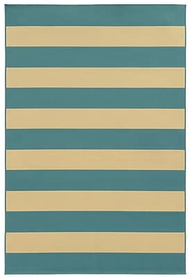 StyleHaven Striped Geometric Blue/ Ivory Indoor/Outdoor Machine-made Polypropylene Area Rug (5'3