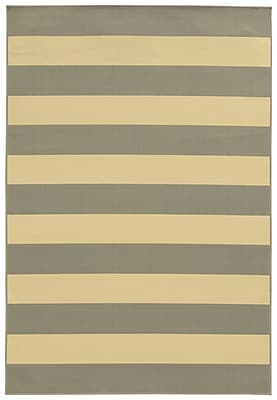 StyleHaven Striped Geometric Grey/ Ivory Indoor/Outdoor Machine-made Polypropylene Area Rug (6'7
