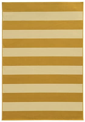 StyleHaven Striped Geometric Gold/ Ivory Indoor/Outdoor Machine-made Polypropylene Area Rug (7'10