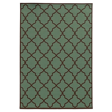 StyleHaven Geometric Blue/ Brown Indoor/Outdoor Machine-made Polypropylene Area Rug (6'7