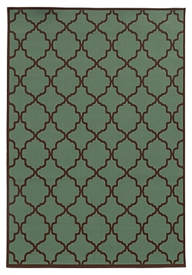 "StyleHaven Geometric Blue/ Brown Indoor/Outdoor Machine-made Polypropylene Area Rug (7'10"" X 10'10"")"
