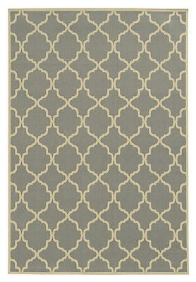 StyleHaven - Geometric Grey/ Ivory Indoor/Outdoor Machine - made Polypropylene Area Rug (3'7