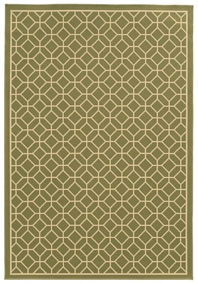 StyleHaven Geometric Green/ Ivory Indoor/Outdoor Machine-made Polypropylene Area Rug (7'10