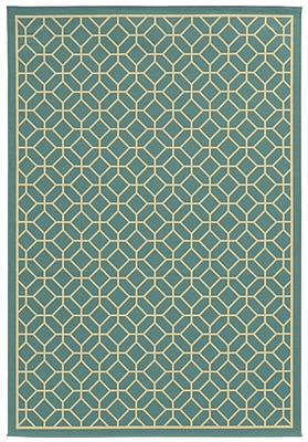 StyleHaven-Geometric Blue/ Ivory Indoor/Outdoor Machine-made Polypropylene Area Rug (3'7