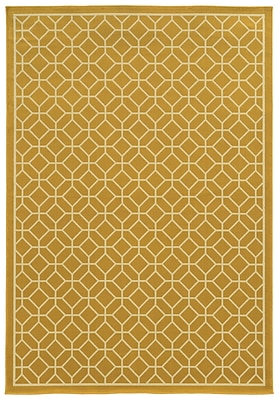 Geometric Gold/ Ivory Indoor/Outdoor Machine-made Polypropylene Area Rug (5'3