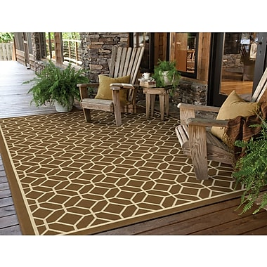 StyleHaven Geometric Brown/ Ivory Indoor/Outdoor Machine-made Polypropylene Area Rug (6'7