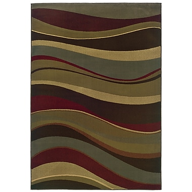 StyleHaven Abstract Beige/ Green Indoor Machine-made Polypropylene Area Rug (3'2