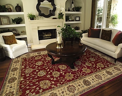 StyleHaven Floral Red/ Beige Indoor Machine-made Polypropylene Area Rug (3'2