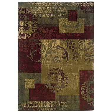StyleHaven Abstract Green/ Red Indoor Machine-made Polypropylene Area Rug (5' X 7'6