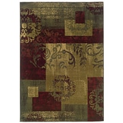 "StyleHaven Abstract Green/ Red Indoor Machine-made Polypropylene Area Rug (5' X 7'6"")"
