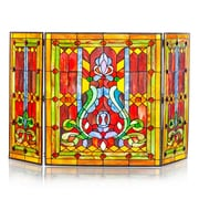 River of Goods Fleur de Lis Tiffany Style Stained Glass Fireplace Screen