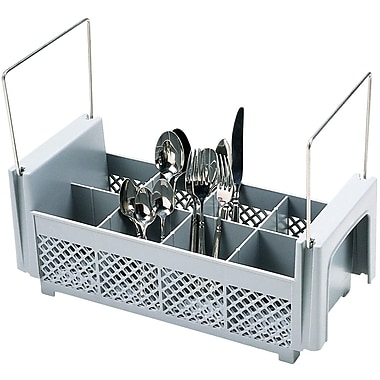Cambro 8FB434, 8 Compartment Flatware Basket w/ Handles - Camrack, Gray