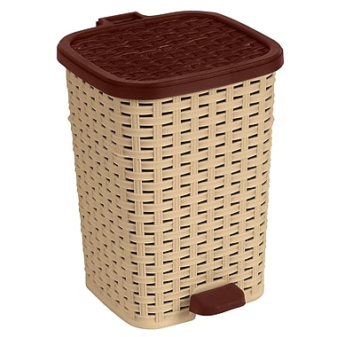 Superior Performance Rattan 1.6 Gallon Step On Trash Can; Beige and Brown