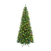 Hometime Snowtime  6.6' Green Pre-Lit New England Pine Artificial Christmas Tree w/ 350 Color LEDs