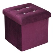 Home Basics Ottoman w/ Stones; Purple