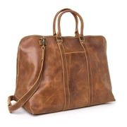 Le Donne Leather 25'' Distressed Leather Getaway Travel Duffel; Tan