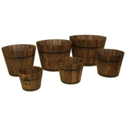 DeVault Enterprises DEVBP208 Wooden Whiskey Barrel Planter Set