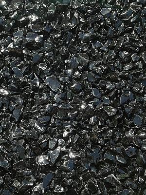 Exotic Pebbles & Aggregates EG02-L02S 2 lbs. Glass Pebbles, Black