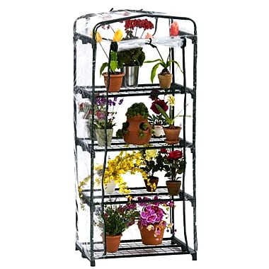 Flowerhouse FHPT400CL 5'H x 2'W x 1.5'L 4 Shelf Plant Tower