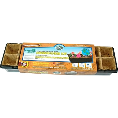 Planters Pride RZG16250 16 Fiber Grow Pot Greenhouse Kit, Brown