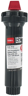 """""Toro 53821 4"""""""" 570Z Pop-up Body Only Stationary Sprinkler with Flush Plug, Black"""""" 1258654"