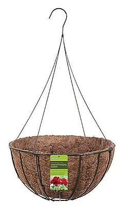 "Gardman R421 14"" Grow Basket with Coco Liner & 4 Wire Hanger, Black"
