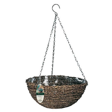 "Gardman R450 14"" Rustic Rattan Hanging Basket, Black"