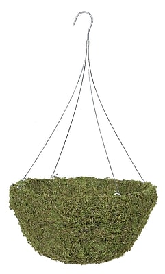 "Gardman R476 18"" Sphagnum Moss Hanging Basket with 4 Wire Hanger, Green"