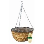 """Gardman R486 14"""" Lattice Rattan Hanging Basket, Brown"""