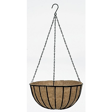 "Gardman R407 12"" Traditional Hanging Basket with Coco Liner, Black"