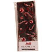 JAM Paper MD – Papier d'emballage cadeau Noël en aluminium, Joyeux Noël argenté, 5/paquet (11724296G)
