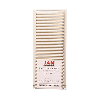 JAM Paper® Tissue Paper, Silver and Gold Striped, 15/Pack (273321003g)