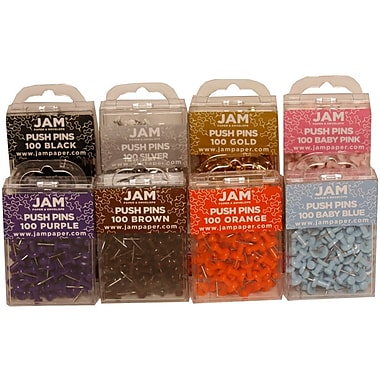 JAM Paper® Push Pins, Assorted Pushpins, 9 boxes of 100, 900/Pack (222419057)