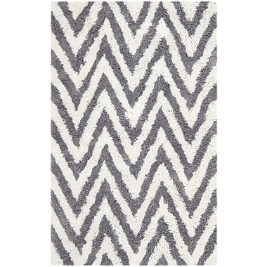 Safavieh Chevron Shag Rectangle Area Rug, 5' x 8', Ivory/Gray