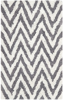 Safavieh Chevron Shag Rectangle Area Rug, 4' x 6', Ivory/Gray