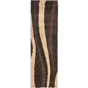 "Safavieh Willow Shag Runner Area Rug, 2' 3"" x 11', Dark Brown/Beige"