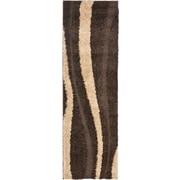 """Safavieh Willow Shag Runner Area Rug, 2' 3"""" x 11', Dark Brown/Beige"""
