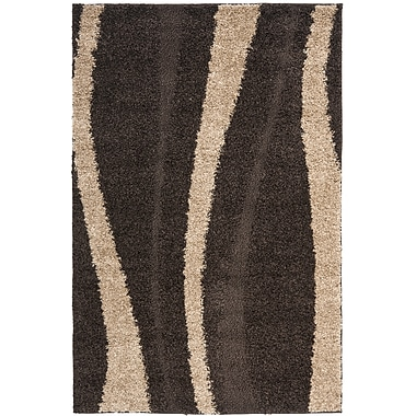 Safavieh Willow Shag Small Rectangle Area Rug, 4' x 6', Dark Brown/Beige
